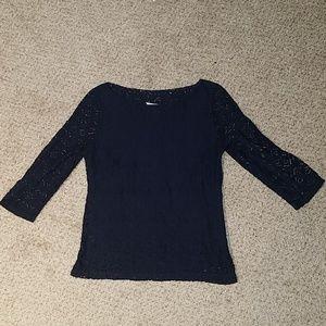Like NEW BANANA REPUBLIC sz 2 navy lace top, $78